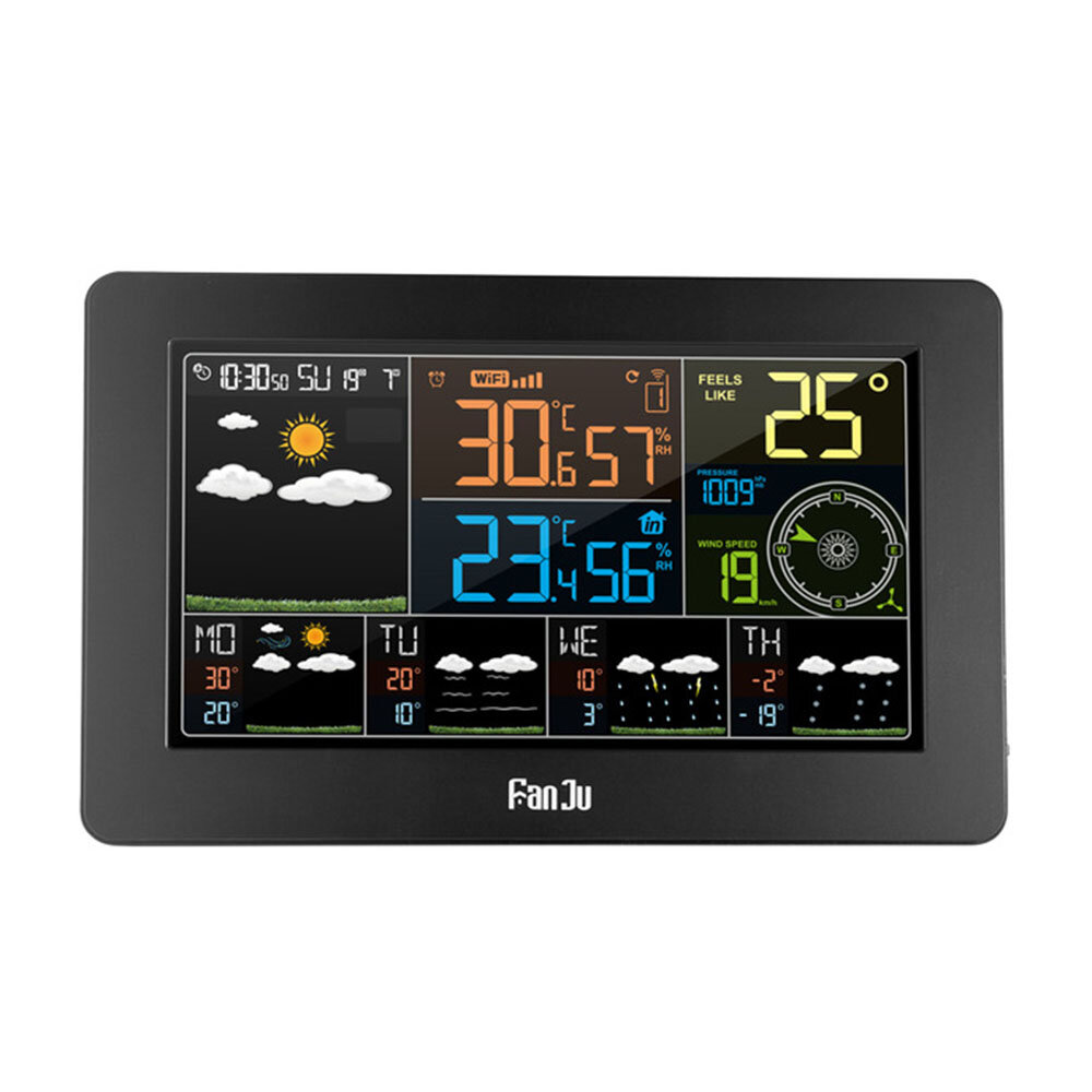 FanJu FJW4 Digital Alarm Clock Weather Station Wifi Indoor Outdoor Temperature Humidity LCD Clock Pressure Wind Weather Forecast