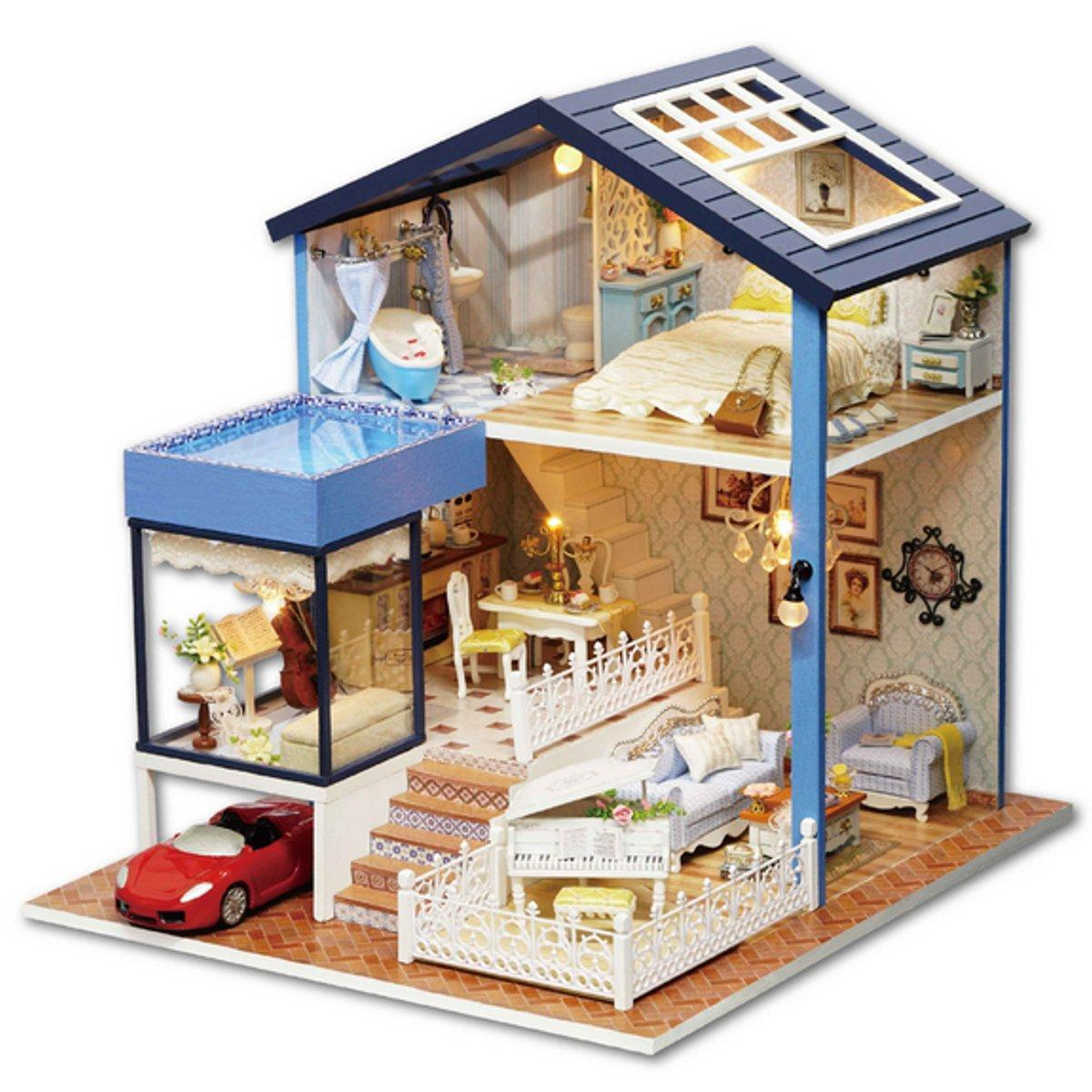 DIY Dollhouse Miniature Kit Doll House With Furniture Gift Craft Toy фото