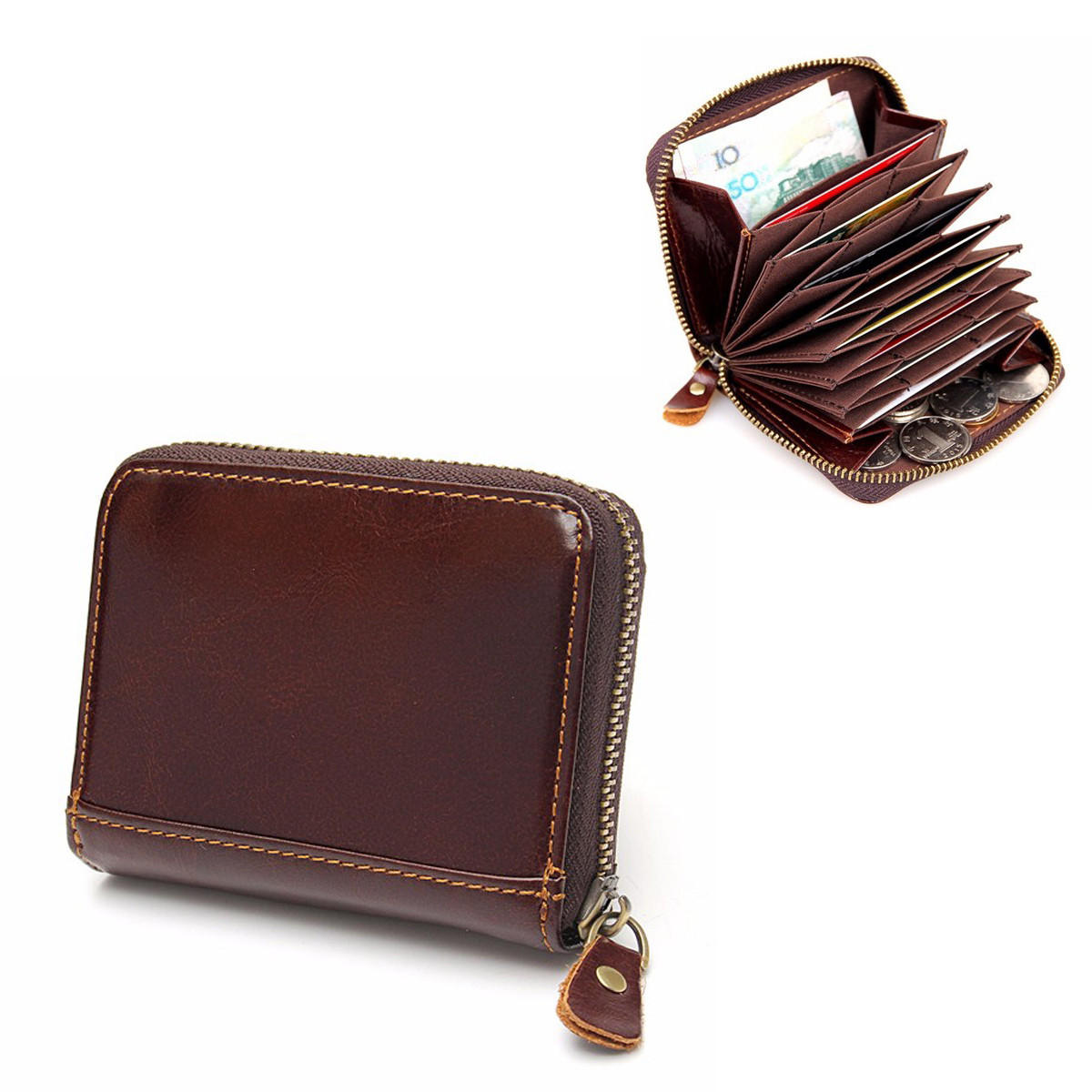 RFID Blocking Coffee Leather Zipper Business Card Around Wallet Card Holder  Coin Purse