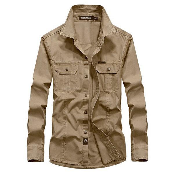 प्लस आकार एस -4 एक्सएल सैन्य एंटी क्रीज़ आउटडोर ठोस रंग आरामदायक लंबी आस्तीन कपास शर्ट