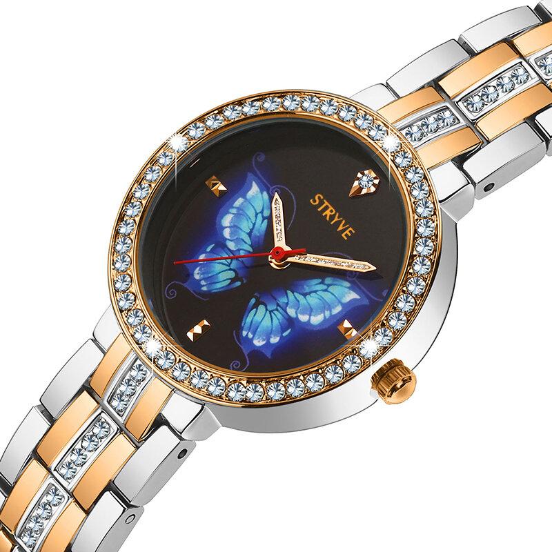 GIAI ĐOẠN T1018 Vỏ pha lê cao cấp Full Steel Women Đồng hồ đeo tay Ladies Dress Thạch anh Đồng hồ đeo tay