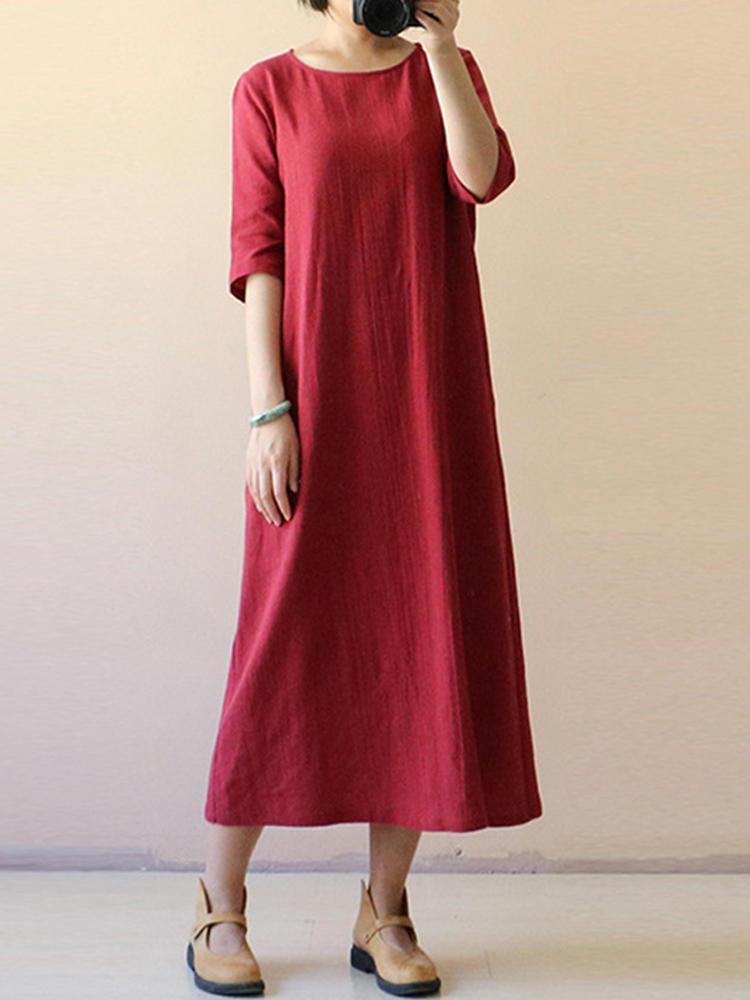 Kadın Vintage Yarım Kollu O-Boyun Gevşek Maxi Elbise