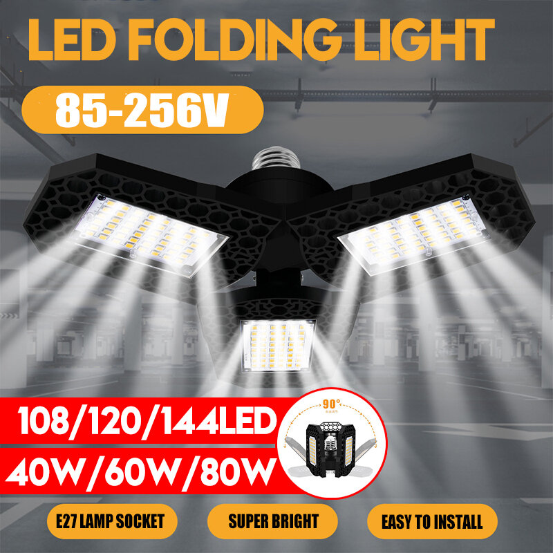 40W 60W 80W E27 LED Bulb SMD2835 Foldable Garage Light Deformable Ceiling Fixture Workshop Lamp AC85-265V