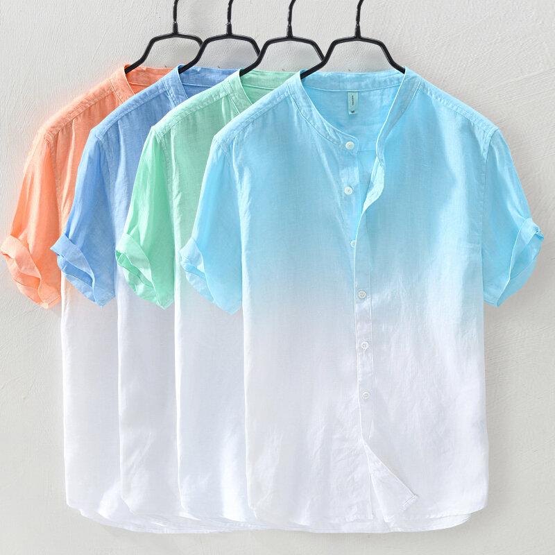 Mens Gradient Färg Sommar Trendig Bomull Andas Lös Casual T-shirts