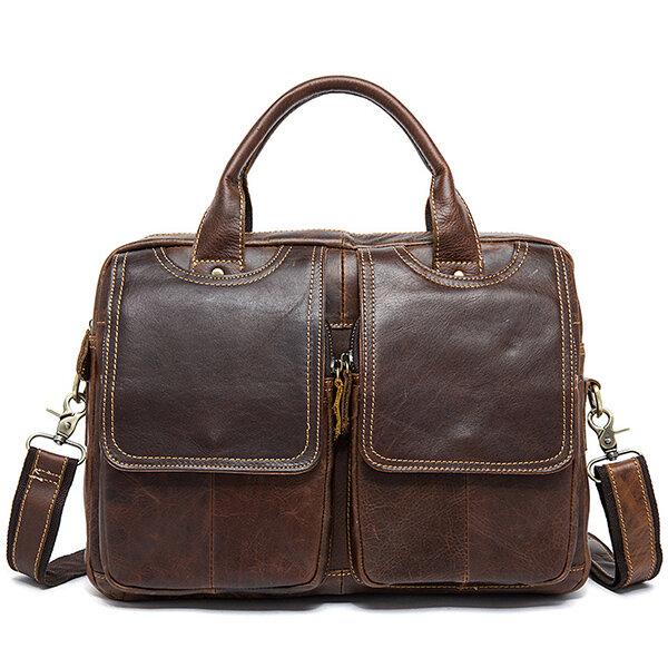 Men Genuine Leather Vintage 14 Inches Laptop Bag Business Bag Briefcase Crossbody Bag