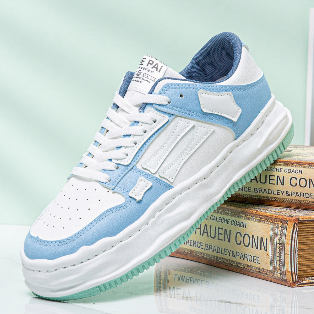 Men Leather Hollow Out Breathable Soft Sole Comfy Platform One Size Smaller Casual Court Shoes
