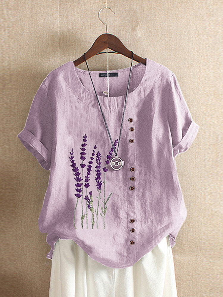 Floral Embroidery O-neck Short Sleeve Button Vintage T-shirts For Women