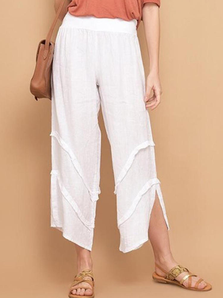 Casual Solid High Waist Split Pockets Pants