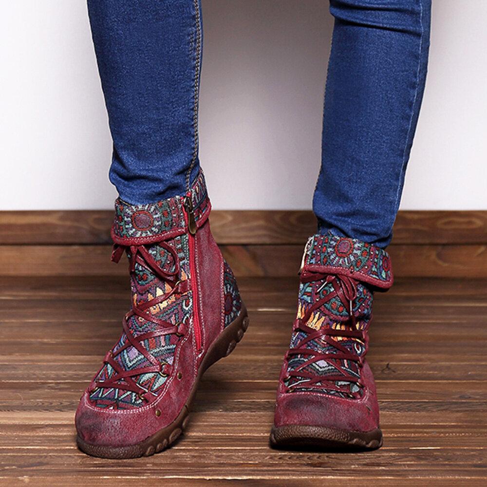 SOCOFY עור מקורי שכפול אקארד דפוס רוכסן נעליים
