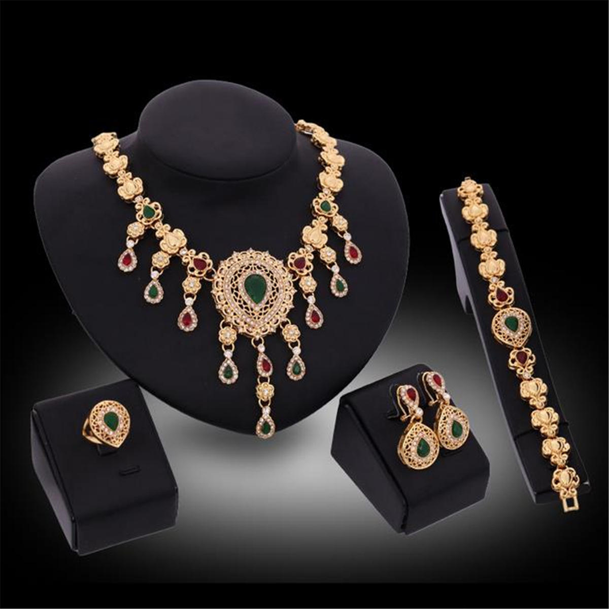 Gold Plated Rhinestone Crystal Wedding Party Necklace Bracelet Ring Earring Set Jewelry Set For Women