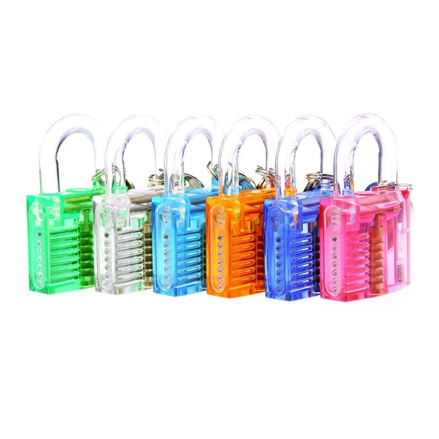 6 st Colorful Genomskinlig Synlig Cutaway Hänglås Lås Plocka för Låssmed Övning