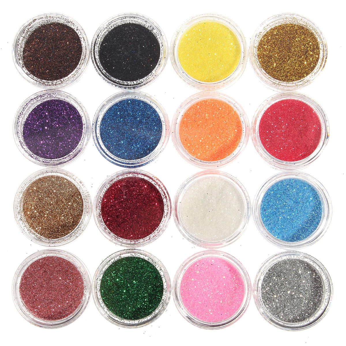 16 colors eye shadow pigment glitter powder spangle set nail art ...