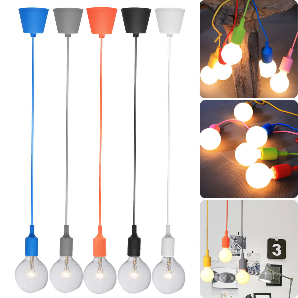 60W Modern Ceiling Fabric Cable Pendant Light Holder E27 Bulb Lamp Fitting, Banggood  - buy with discount