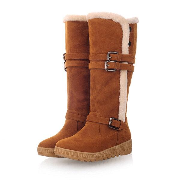Fodera di pelliccia di inverno delle donne di formato 5-12 degli Stati Uniti mantengono i caldi stivali di neve del mid-vitello caldo