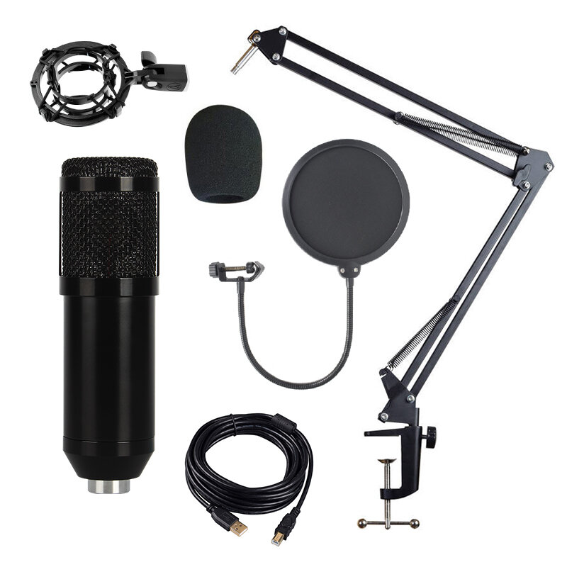 Bakeey BM-828 Adjustable Studio Mic USB Condenser Sound Recording Microphone With Stand for Live Broadcast Podcasting