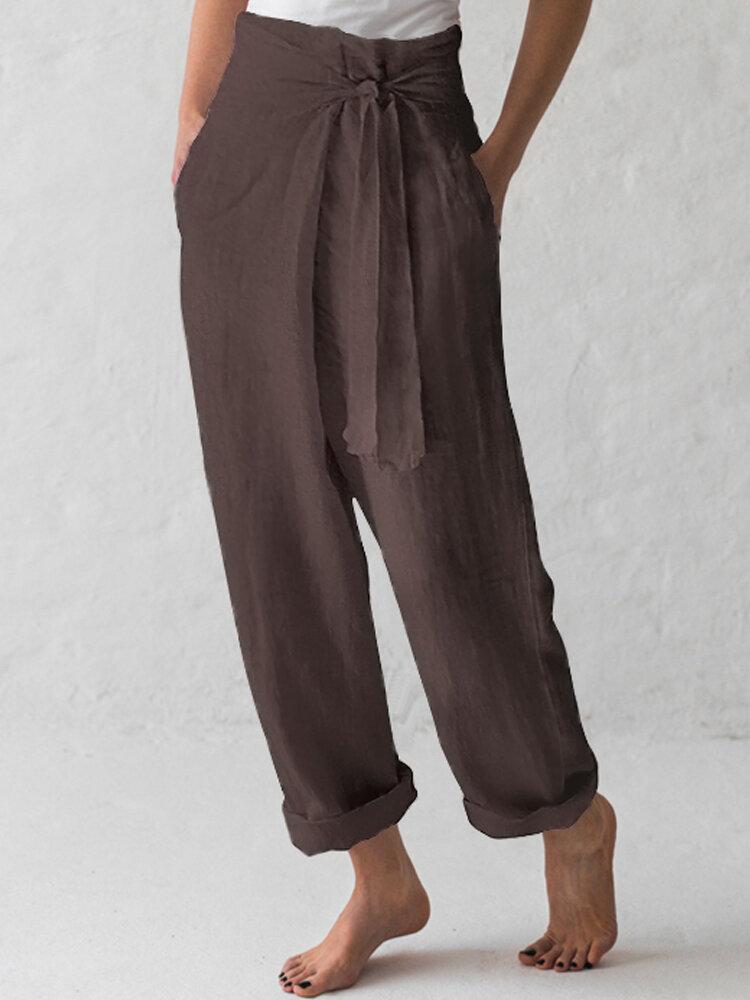 Women Cotton Belted High Waist Casual Wide Leg Harem Pants