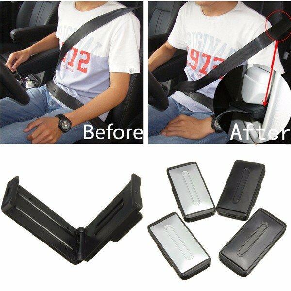 2Pcs Car Auto Seat Belt Clips Adjustable Comfort Safety Locking Stopper Extender Sliver Black
