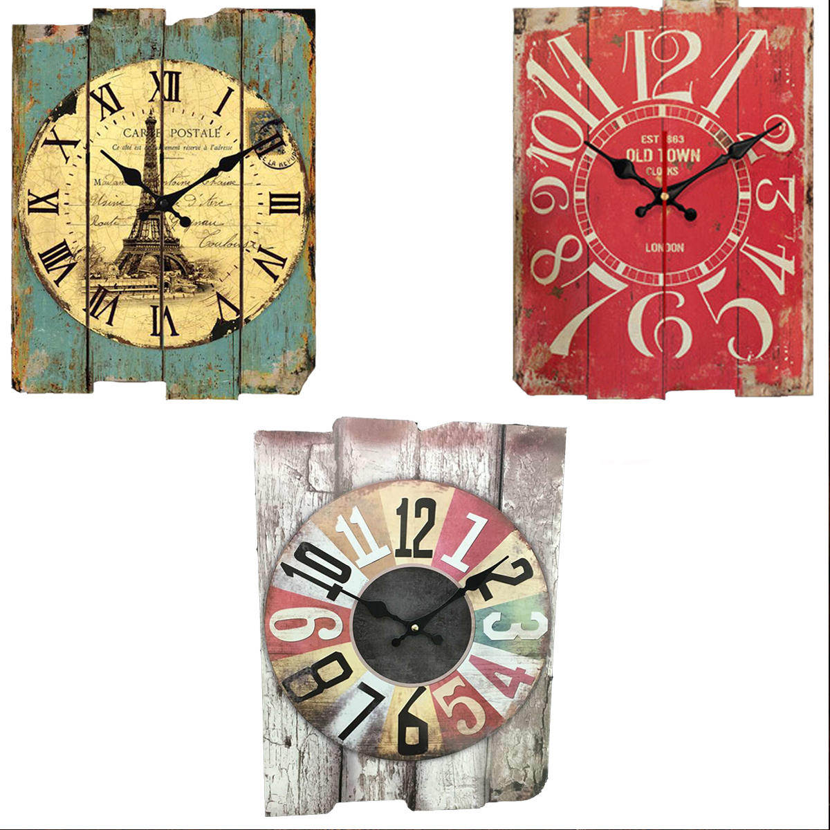 Green Gray Red Retro Vintage Wooden Wall Clock Home Coffee Decorations