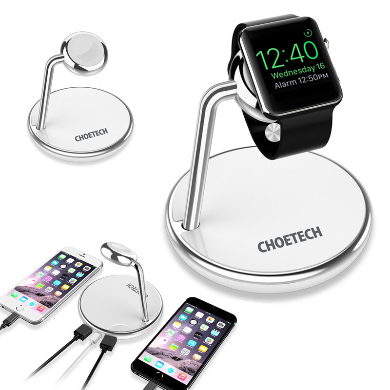CHOETECH 2 in 1 Wireless Charging Station Dual USB Wireless Charger with 600mAh for iwatch for Samsung Galaxy Note S20 u
