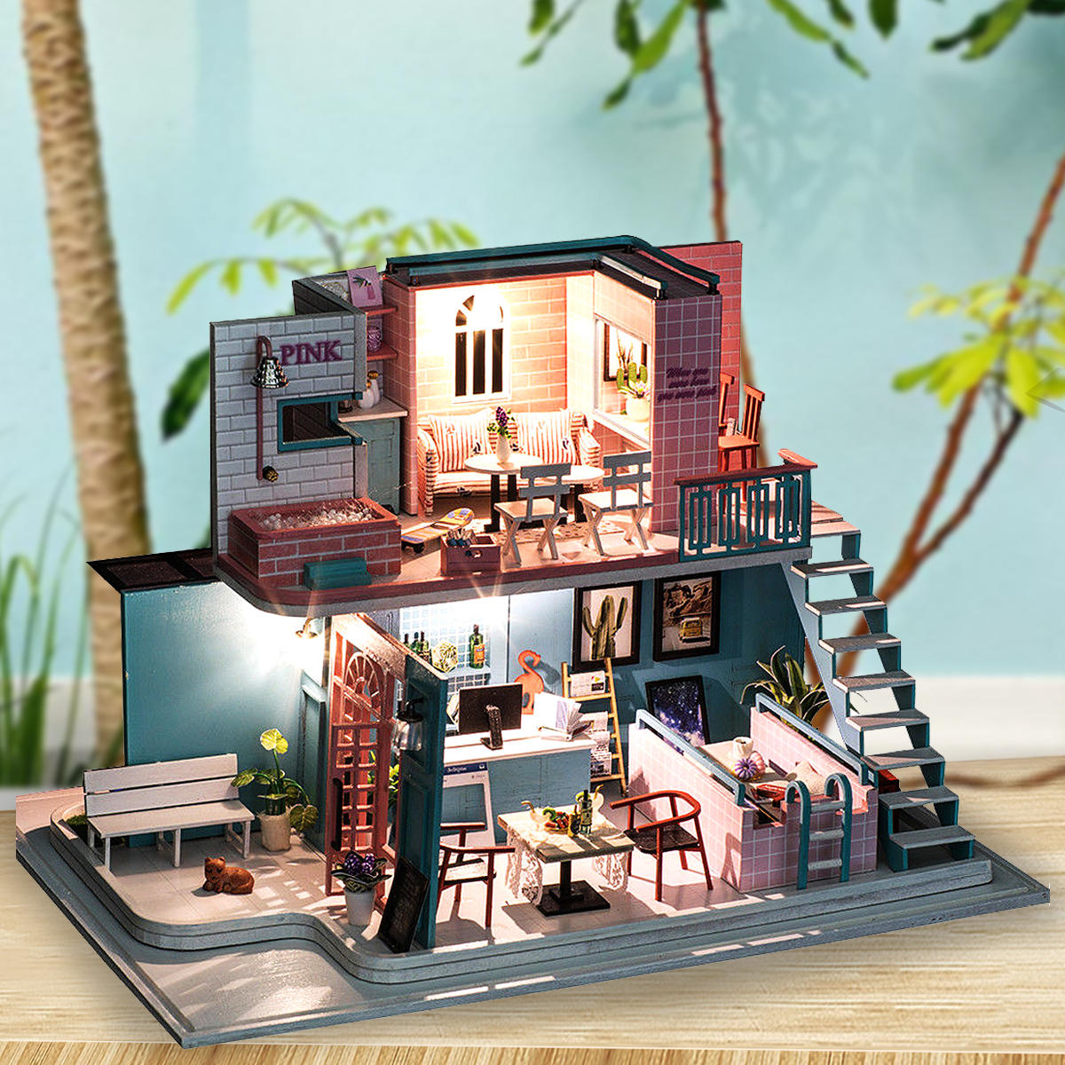 Handmade 3d Wooden Miniatures Doll House Pink Cafe Dollhouse Furniture Diy Miniature Toys For Girls Birthday Gifts