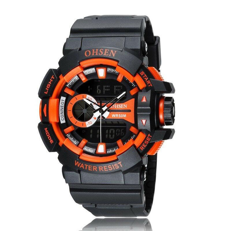 OHSEN AD1505 caucho de banda analógico digital de alarma deporte cronómetro reloj de pulsera