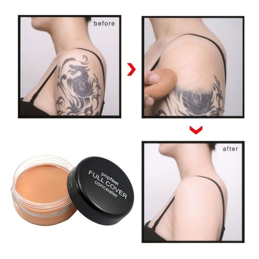 POPFEEL Full Cover Concealer Face Eye Lip Creamy Tattoo Makeup Concealer Cream Foundation