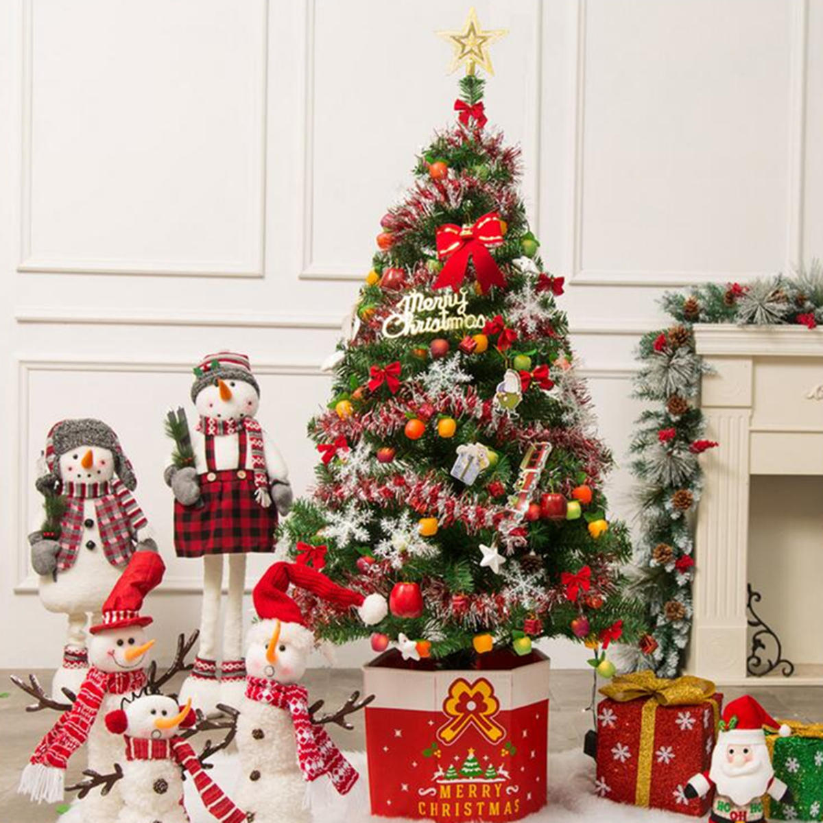 Christmas Tree Fiber Optic Lights: 3-7ft Pre-lit Fiber Optic Artificial Christmas Tree