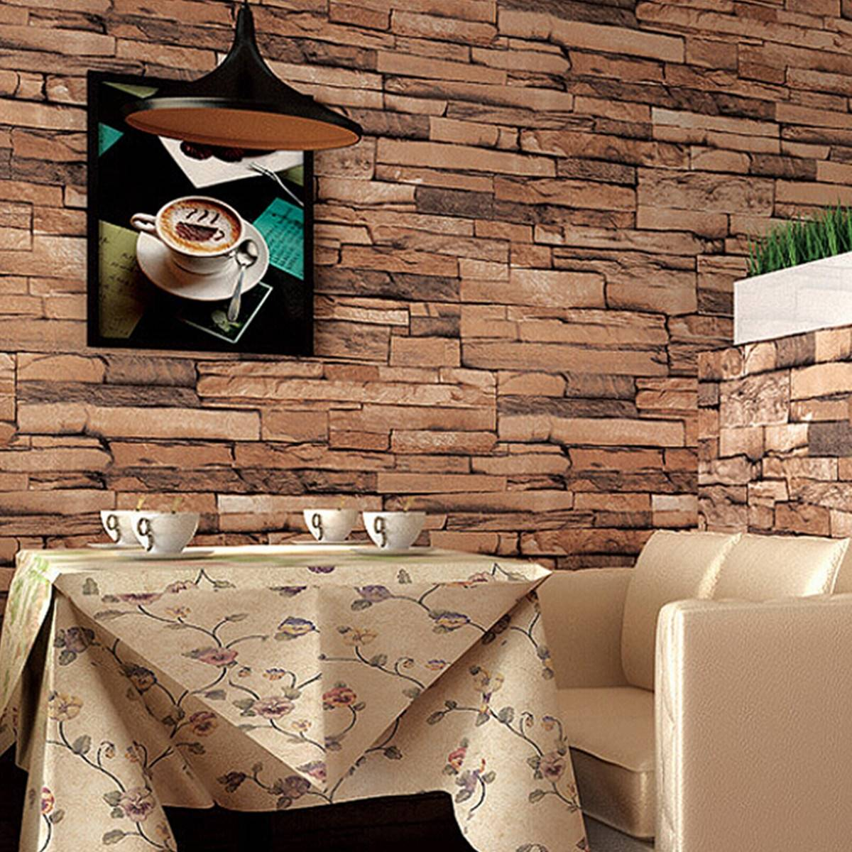 10m 3d Wallpaper Roll Pvc Brick Grain Waterproof Wallpaper Natural Wood Pulp Dull Polish Wall Decor