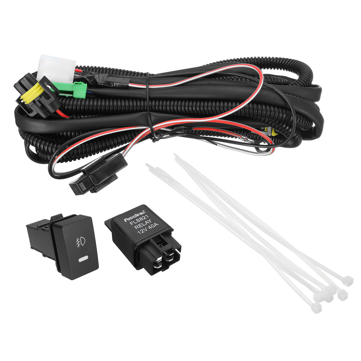 H11 Fog Light Wiring Harness Sockets Wire + LED Indicators Switch + Automotive Relay For Ford
