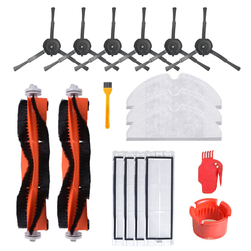 18PCS Accessories Main Brush Side Brush Filter Mop Cloth Comb Blade For Xiaomi Robot Vacuum Cleaner