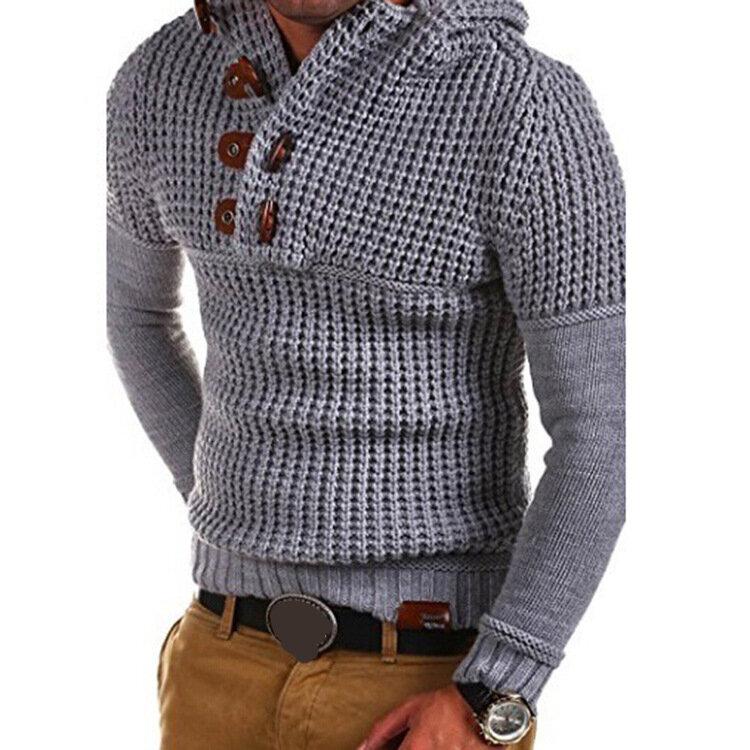 पुरुषों बटन डिजाइन हूड डबल डबल ब्रेस्टेड आरामदायक टॉप फिट लंबी आस्तीन स्वेटर