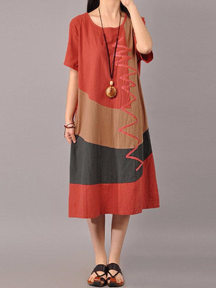 S-5XL Women Casual Short Sleeve Splice Loose O-neck Mid Long Dress