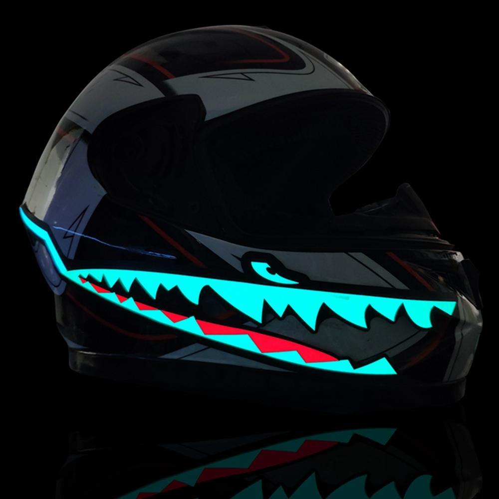 Waterproof Motorcycle Helmet Shark Mouth Light Strip Led Night Signal Lights Luminous Bar Durable Flashing Stripe