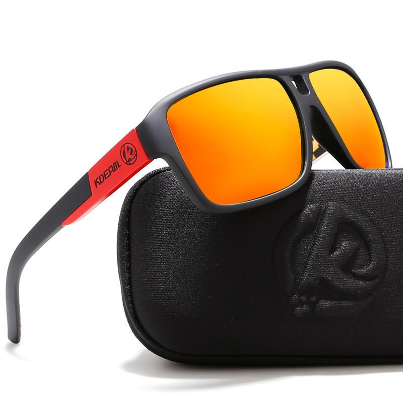 Gafas de sol polarizadas KDEAM KD520 Hombres Mujer UV400 Bastidor cuadrado retro Sun Gafas para al aire libre al aire libre Driving Running de golf