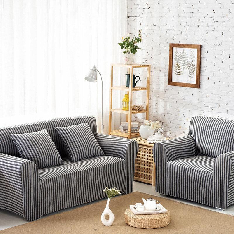 Algodón a rayas Sofá Cubiertas para sillas Estiramiento ajustado Abrigo antideslizante Respaldo elástico Protector del sofá