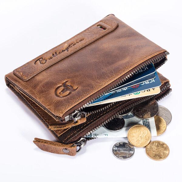 Bullcaptain® Men Zipper Minimal Wallet Genuine Leather Short Wallet Vintage Coin Bag