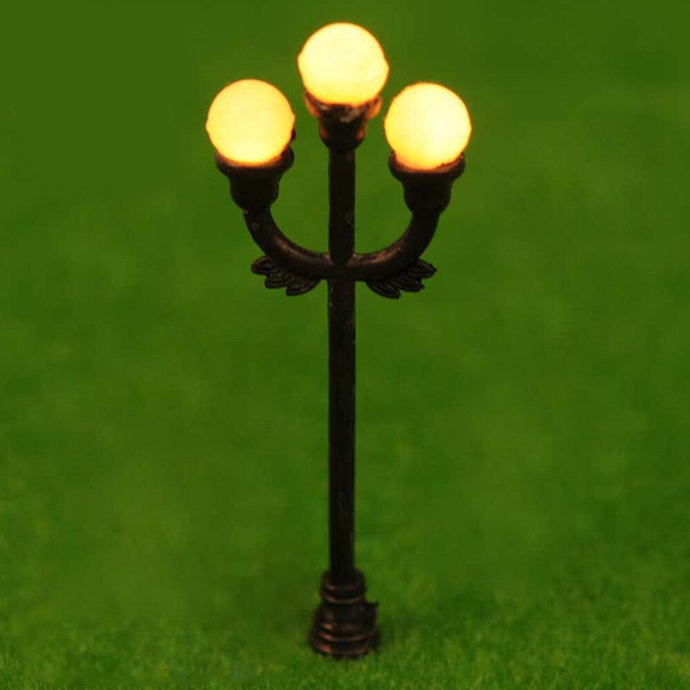 HO OO Scale 5Pcs Resin Craft Mini Street Light Lamp Antique Imitation Fairy Garden Home Miniature DIY Micro Landscape