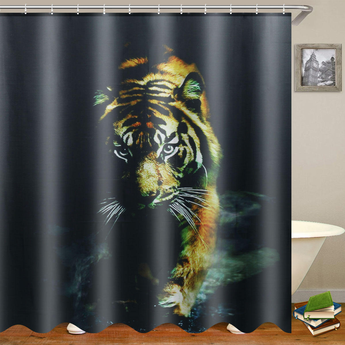 . 72 X 72  Wildlife Animal Nature Decor Tiger Bathroom Decor Shower Curtain  with Plastic Shower Hooks
