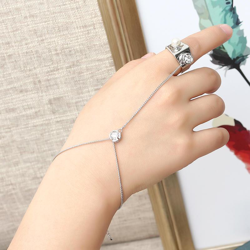 JASSY® Mujer Anillo de perlas Anillo de platino plateado de Hexágono de moda con cadena de pulsera de Palma Mejor regalo