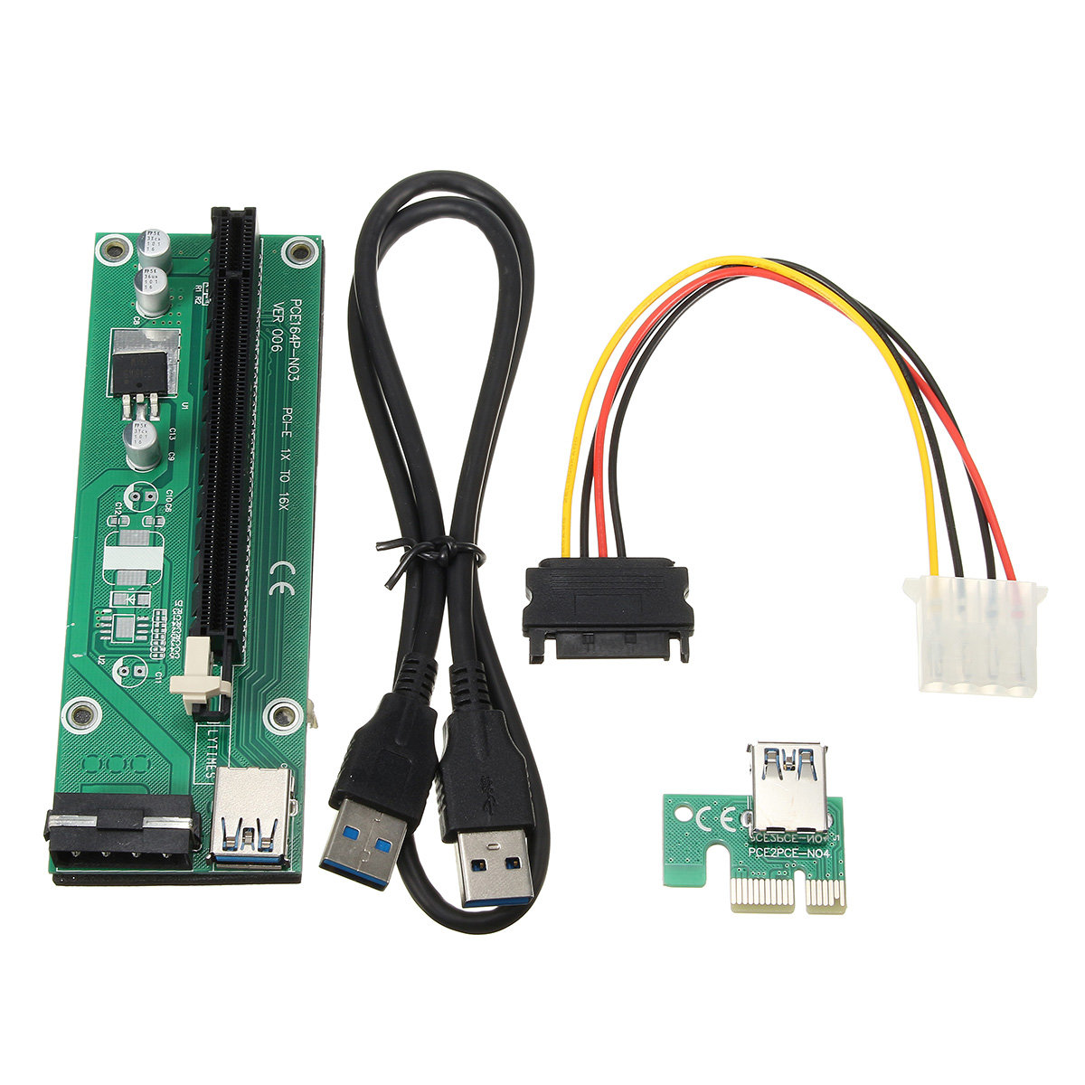 0.6m USB 3.0 PCI-E Express 1x to16x Extension Cable Extender Riser Board Card Adapter SATA Cable