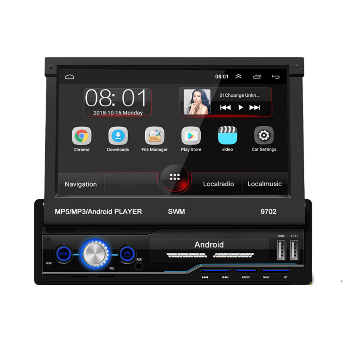 7 Inch 1 Din Android 8.1 Car Radio Stereo MP5 Player 4 Core 1+16G Retractable Touch Screen WIFI GPS bluetooth FM AUX With 4LED Backup Camera