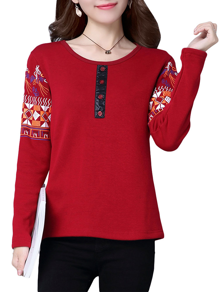 Causal Women O-Neck Long Sleeve Printed Thick Button Blouse