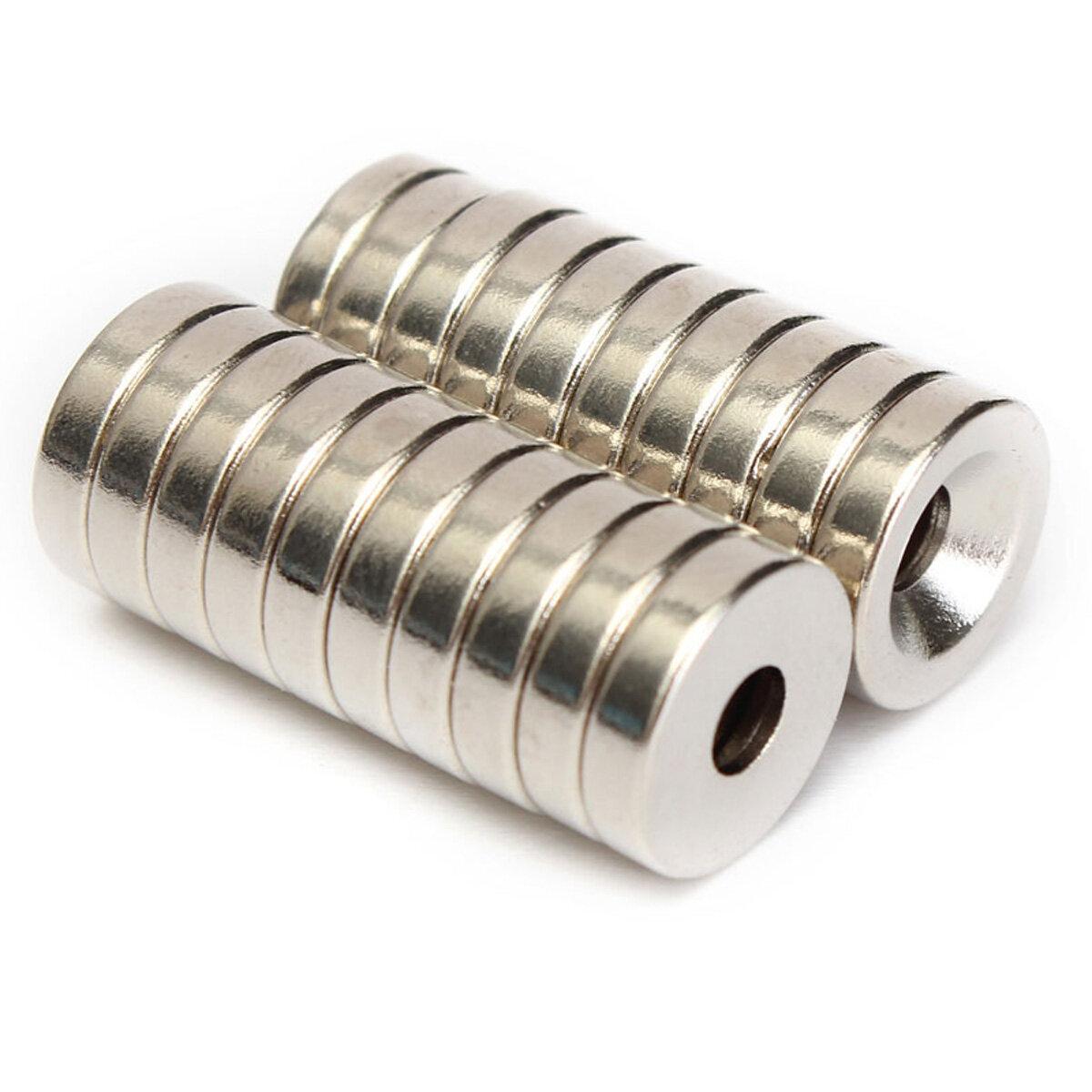 20 chiếc N50 12x3mm Bộ đếm vòng nam châm Nhẫn 4mm Lỗ đất hiếm Neodymium Magnet
