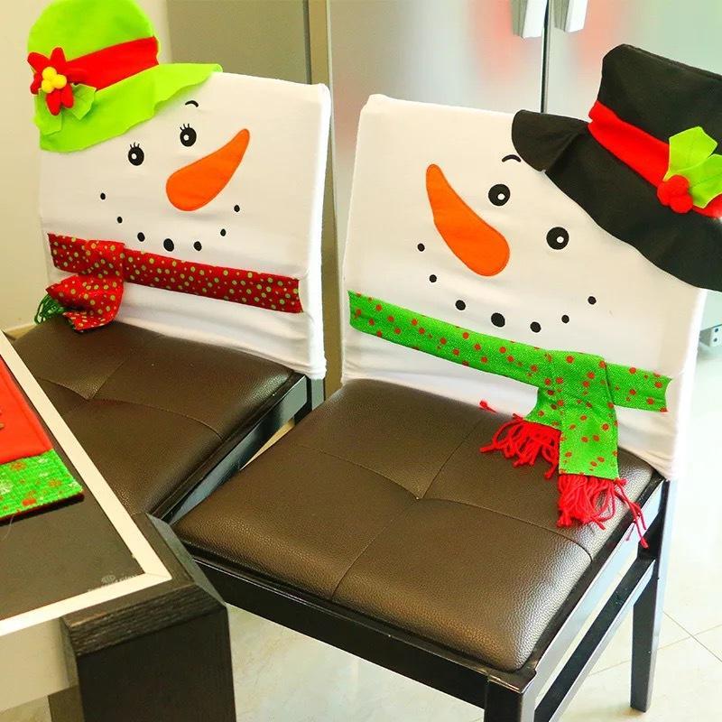 Engraçado Casamento de boneco de neve de Natal Decoração de Natal Decoração de festa Cadeira de jantar Cadeira de noiva