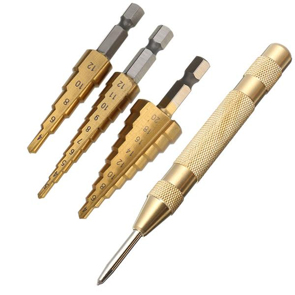 Drillpro 3Pcs 3-12/4-12/4-20mm HSS Titanium Coated Step Drill Bits with Automatic Center Pin Punch