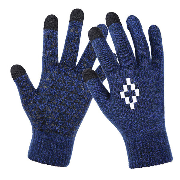 Men Winter Fleece Thicken Touch Screen Gloves Printing Skid Resistance Gloves For Cycling Texting