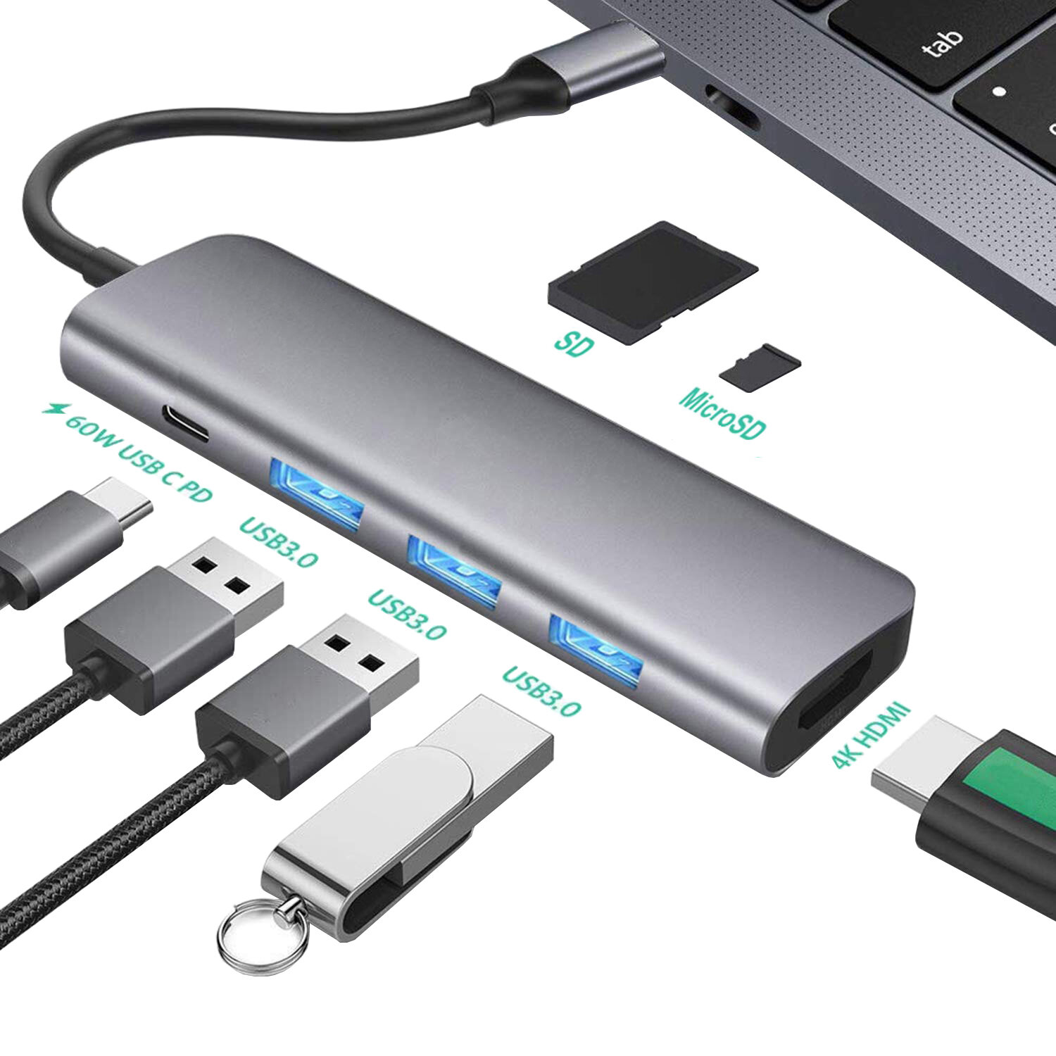 Bakeey USB C HUB Docking Station Type C to HDMI Adapter ConverterWith 60W PD Power Delivery / USB3.0*3 / 4K HDMI / Mem