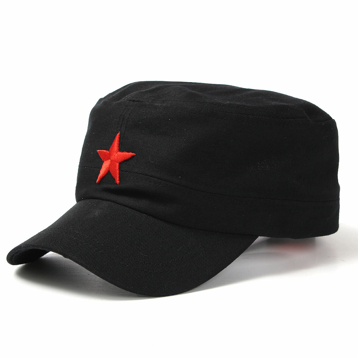 8f022e44 Unisex Red Star Cotton Army Cadet Military Cap Adjustable Durable Flat Top  Hats - Black COD