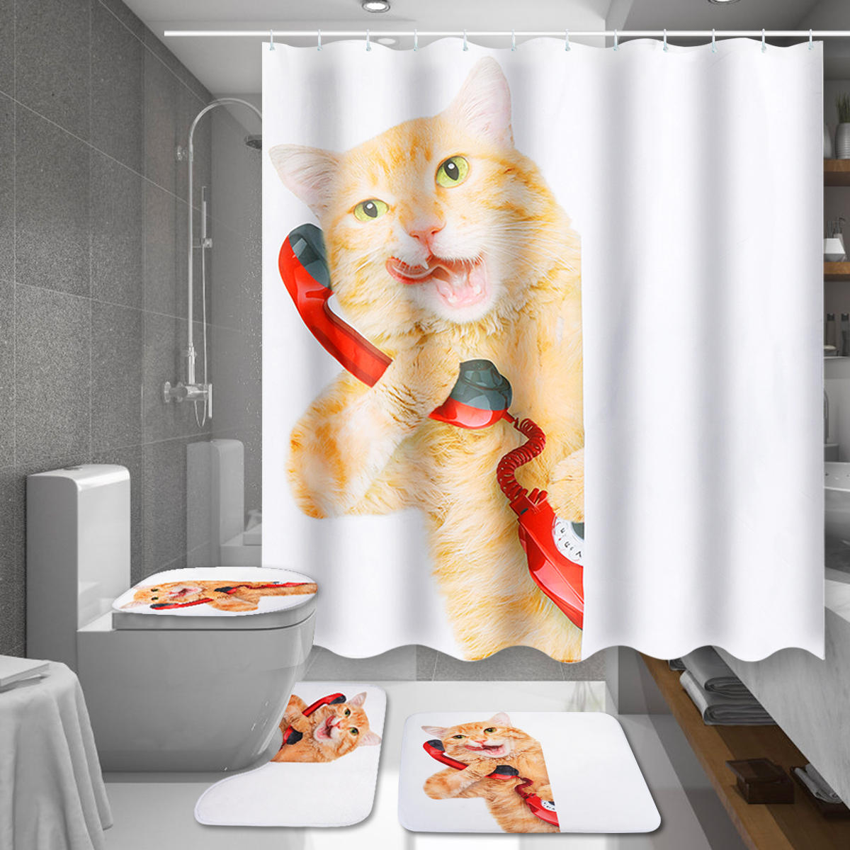 150 180x180cm Cat Bathroom Waterproof Shower Curtain With 12 White C Shaped Plastic Hooks