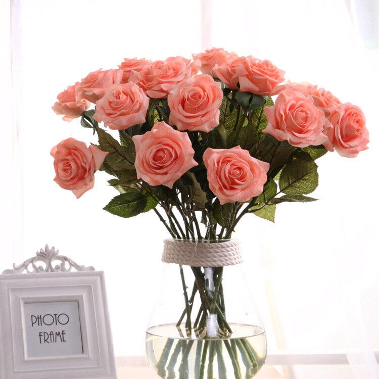 Rose Artificial Flowers Single Branch Fake Flower for Home Decoration Wedding Moistening Silk Roses
